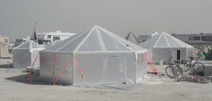 Hexayurt at BurningMan cropped 2010.jpg