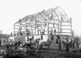 Barn raising - Leckie's barn completed in frame.jpg