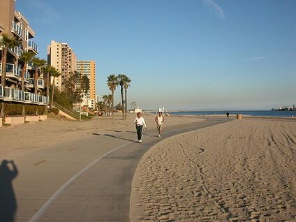 Bike path in Long Beach on beach.JPG