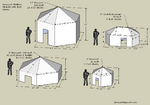 There are four basic Hexayurt sizes which cover a variety of needs.